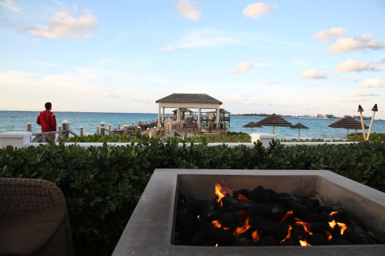 That Friday in January, as it hit about 62, the fire pits came in handy.  There aren't many things as relaxing as sitting around a fire pit, with a beverage, listening to the ocean waves wash up to the shore.