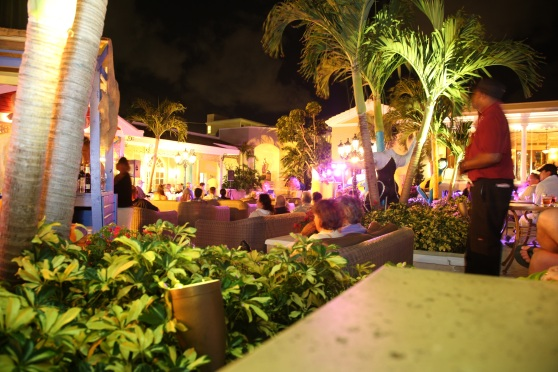 The terrace at night, during the party.